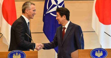 NATO Secretary General Jens Stoltenberg shakes hands with Japanese Prime Minister Shinzo Abe at a joint press conference in Tokyo, 31 October 2017. Photo: NATO