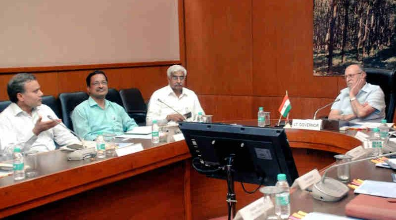 Lt. Governor of Delhi Anil Baijal holding a crime review meeting with the Delhi Police officers. Photo: LG Office