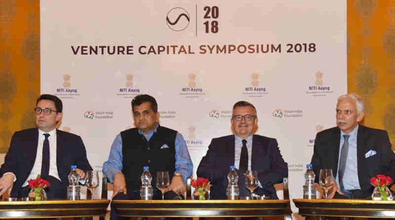 The CEO, NITI Aayog, Shri Amitabh Kant, the Ambassador of France to India, Mr. Alexandre Ziegler and other dignitaries at the Venture Capital Symposium with French investors, organised by the NITI Aayog, in New Delhi on May 18, 2018.