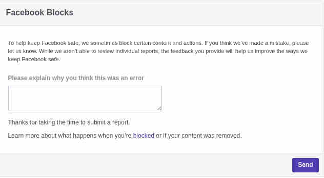 An example of Facebook's arbitrary restrictions on genuine users.
