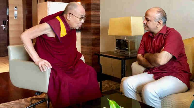 Dalai Lama with Delhi education minister Manish Sisodia. Photo: AAP (file photo)