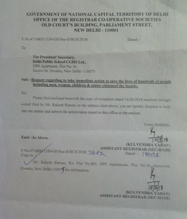 Letter from RCS office to DPS CGHS MC to save the lives of people in the illegal car parking case which is posing risk in the event of fire. DPS CGHS MC has ignored the RCS letter.