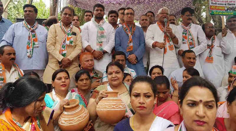 Congress held a Matka (earthen water pot) protest on June 13, 2018 to highlight the water scarcity in Delhi. Photo: Congress