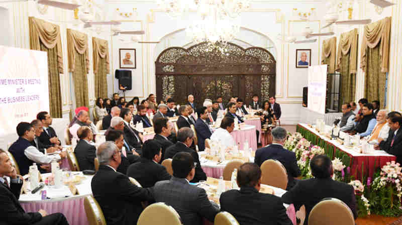 Narendra Modi with the business leaders and captains of industry, for a discussion on issues such as economic growth, infrastructure development, policy initiatives, investment, innovation and job creation, in Mumbai on June 26, 2018