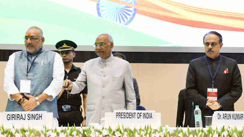 The President, Shri Ram Nath Kovind launching the Solar Charkha Mission, at the inauguration of the National Conclave (MSME Udyam Sangam 2018), on the occasion of the 2nd United Nations MSME Day, in New Delhi on June 27, 2018. The Minister of State for Micro, Small & Medium Enterprises (I/C), Shri Giriraj Singh and the Secretary, MSME, Shri Arun Kumar Panda are also seen.