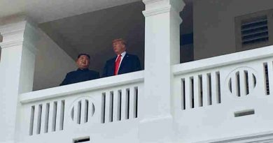 President Trump and North Korean Leader Kim Jong Un on a balcony after finishing their meeting. Photo: White House