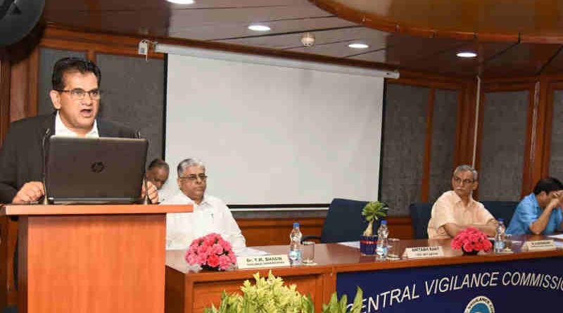 "The CEO, NITI Aayog, Shri Amitabh Kant delivering the 33th lecture of the ""Lecture Series"", organised by the Central Vigilance Commission (CVC) on the topic ""Transformation of Aspirational Districts – a New India by 2022"", in New Delhi on July 26, 2018. The Central Vigilance Commissioner, Shri K.V. Chowdary and the Vigilance Commissioners Dr. T.M. Bhasin and Shri Sharad Kumar are also seen."