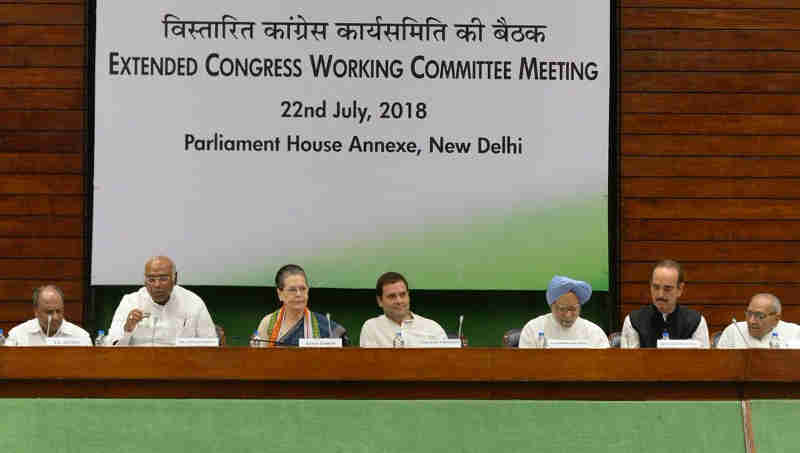 Congress Working Committee Meeting in New Delhi on July 22, 2018. Photo: Congress