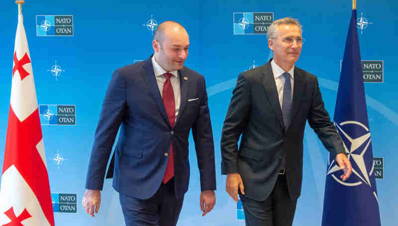 NATO Secretary General Jens Stoltenberg welcomed Georgian Prime Minister Mamuka Bakhtadze to NATO Headquarters. Photo: NATO