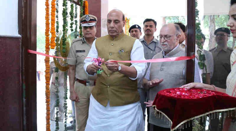 The Union Home Minister, Shri Rajnath Singh inaugurating the building of the Office of DCP South- West district, Police station Delhi Cantt. & Delhi Police Residential complex, in New Delhi on August 10, 2018. The Lieutenant Governor of Delhi, Shri Anil Baijal and the Delhi Police Commissioner, Shri Amulya Patnaik are also seen.