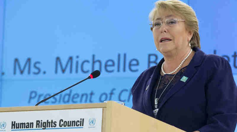 Michele Bachelet, Presidente of Chile speaks during Special Session of the Human Rights Council. 29 March 2017. UN Photo / Jean-Marc Ferré