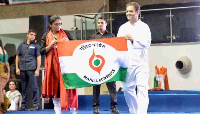 Rahul Gandhi at Mahila Adhikar Sammelan. Photo: Congress