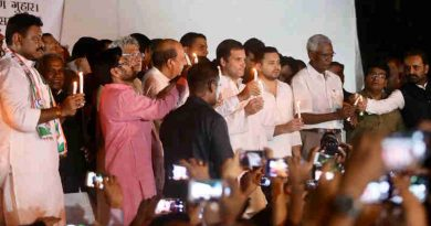 "Congress president was supported by other opposition leaders who held a candlelight protest against the ""horrific Muzaffarpur rapes."""