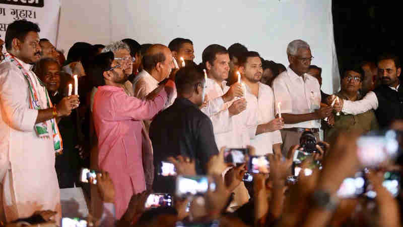 """Congress president was supported by other opposition leaders who held a candlelight protest against the """"horrific Muzaffarpur rapes."""""""