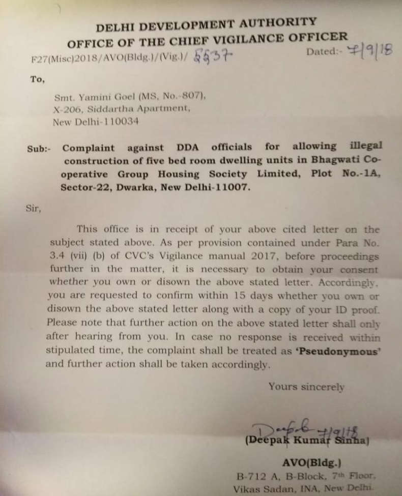 The office of the Chief Vigilance Officer of DDA confirmed that it is ready to pursue the complaint against DDA officials for allowing illegal construction of 5-bedroom dwelling units at Bhagwati CGHS.