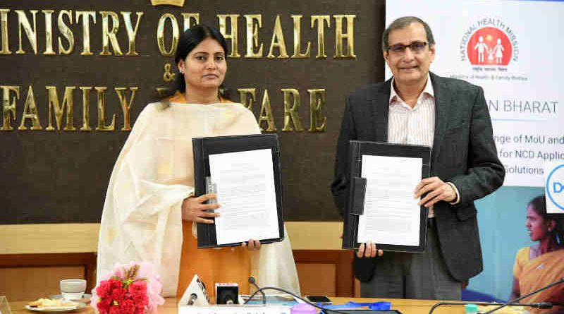 The Minister of State for Health & Family Welfare, Smt. Anupriya Patel presiding over the MoU exchange ceremony with the Tata Trusts and Dell for nationwide prevention, control, screening and management program of Non Communicable Diseases (NCDs), in New Delhi on September 20, 2018.