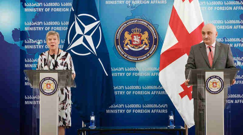 Joint press conference with NATO Deputy Secretary General Rose Gottemoeller and the First Deputy Minister of Foreign Affairs of Georgia, David Dondua. Photo: NATO