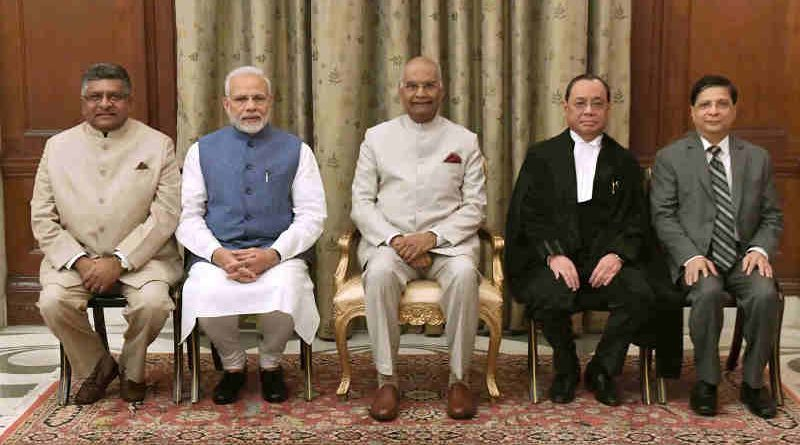 Justice Ranjan Gogoi Chief Justice of India with Prime Minister Narendra Modi and President of India, Ram Nath Kovind. Photo courtesy: Rashtrapati Bhavan