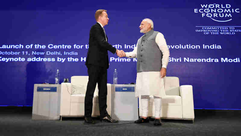 Narendra Modi at an event to mark launch of the Centre for the Fourth Industrial Revolution, in New Delhi on October 11, 2018