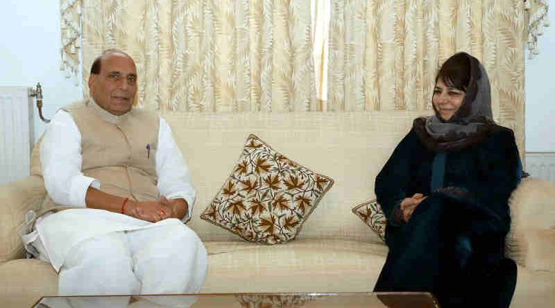 The Union Home Minister, Shri Rajnath Singh meeting the President of the Jammu and Kashmir Peoples Democratic Party (PDP), Smt. Mehbooba Mufti, in Srinagar on October 23, 2018. Photo: PIB
