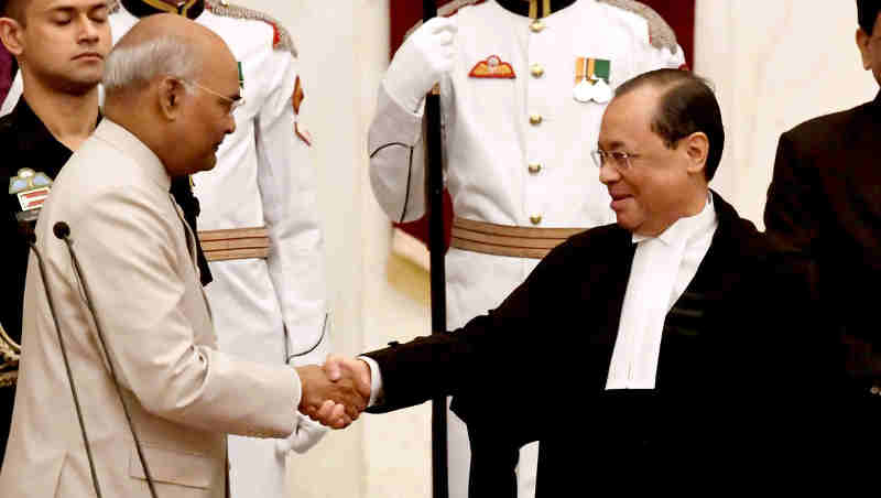 Justice Ranjan Gogoi sworn in as the Chief Justice of Supreme Court of India