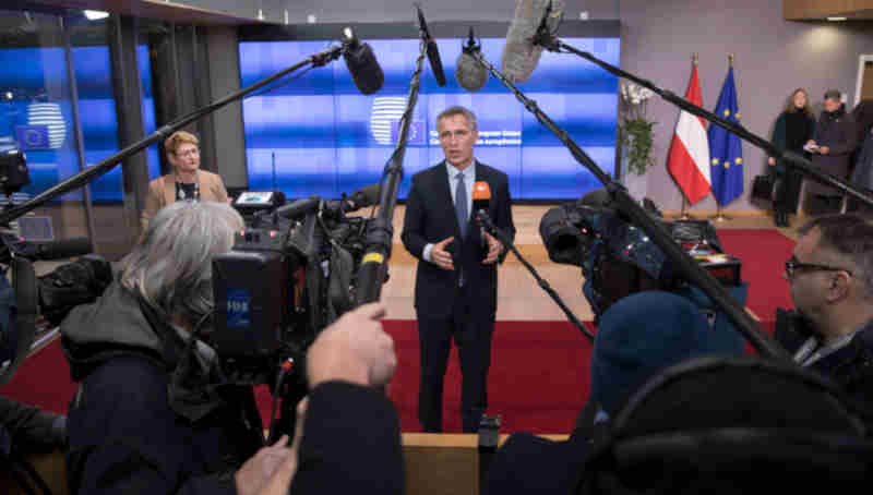 NATO Secretary General Jens Stoltenberg delivers a doorstep statement upon arrival at the European Council. Photo: NATO