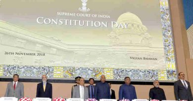 The President, Shri Ram Nath Kovind at the inauguration of the Constitution Day Celebrations, organised by the Supreme Court of India, in New Delhi on November 26, 2018. The Chief Justice of India, Shri Justice Ranjan Gogoi, the Union Minister for Electronics & Information Technology and Law & Justice, Shri Ravi Shankar Prasad and other dignitaries are also seen.