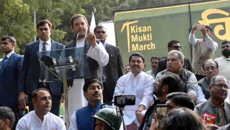 Rahul Gandhi at Kisan Mukti March in New Delhi on November 30, 2018. Photo: Congress
