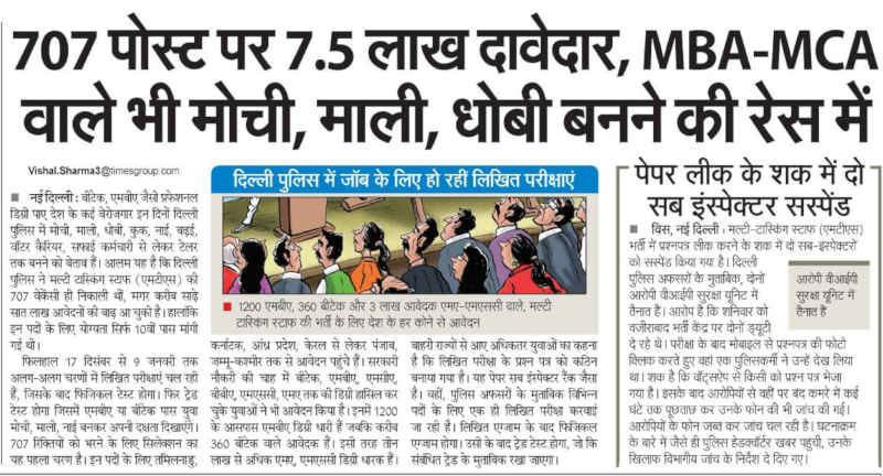 750000 Apply for 707 Low-Level Jobs. MBA-MCA Ready to Work as Sweepers