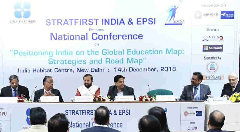 "Prakash Javadekar at the inauguration of the National Conference on ""Positioning India on the Global Education Map: Strategies and Road Map"", in New Delhi on December 14, 2018"