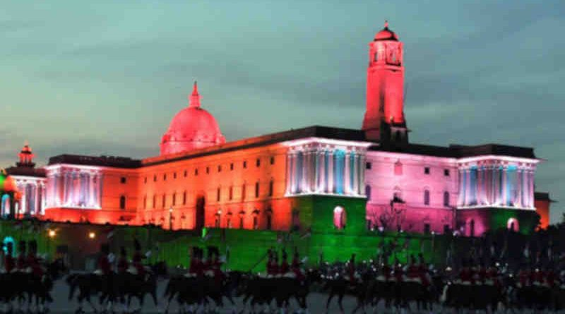 A view of the illuminated Rashtrapati Bhavan, South and North Block, during the 'Beating Retreat' ceremony, at Vijay Chowk, in New Delhi on January 29, 2019. Photo: PIB (Representational image)