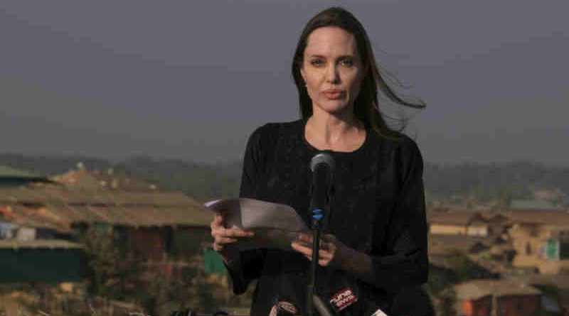 UNHCR Special Envoy Angelina Jolie speaks at a press conference in Bangladesh's Kutupalong refugee camp. Photo: UNHCR / Santiago Escobar-Jaramillo