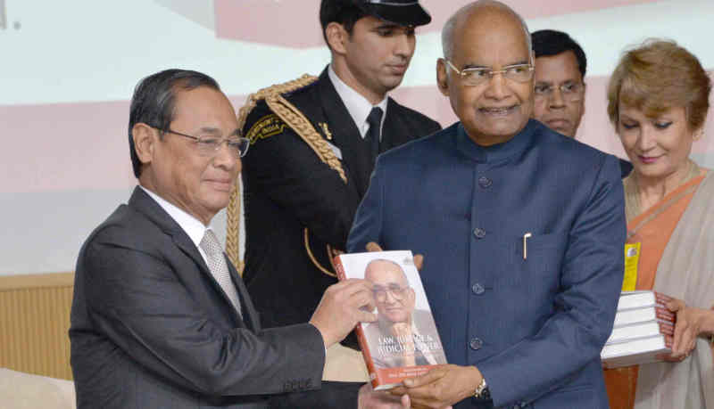 "President, Ram Nath Kovind receiving the First Copy of the Festschrift titled ""Law, Justice & Judicial Power - Justice P.N. Bhagwati's Approach"", in New Delhi on February 08, 2019"