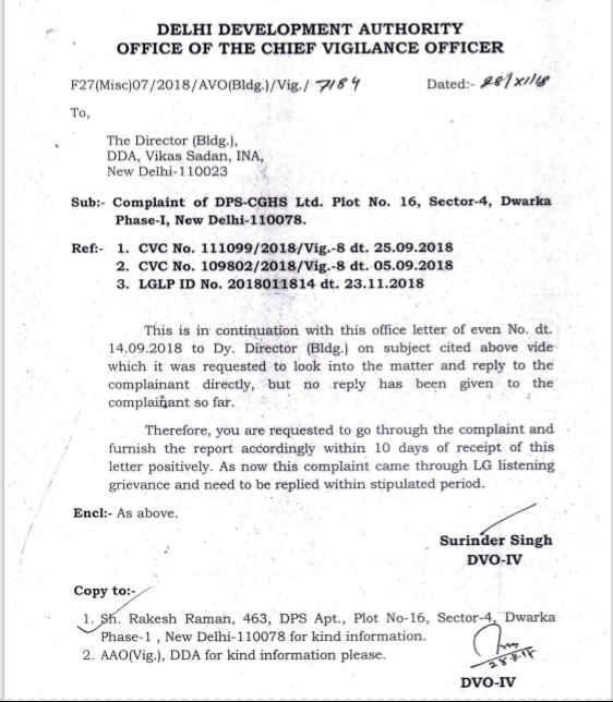 DDA CVO letter to Director (Building) DDA in DPS CGHS corruption case.