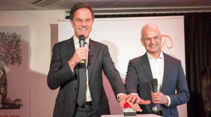 Dutch Prime Minister Rutte opens TechHub at Elsevier's headquarters in Amsterdam (Photo by Todd Fredericks)