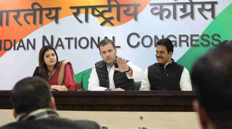 Rahul Gandhi at a press conference. Photo: Congress