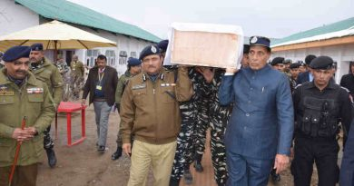 An Indian minister Rajnath Singh shouldering the coffin of a martyred CRPF Jawan, at the Regional Training Centre, in Srinagar on February 15, 2019. Photo: PIB (file photo)