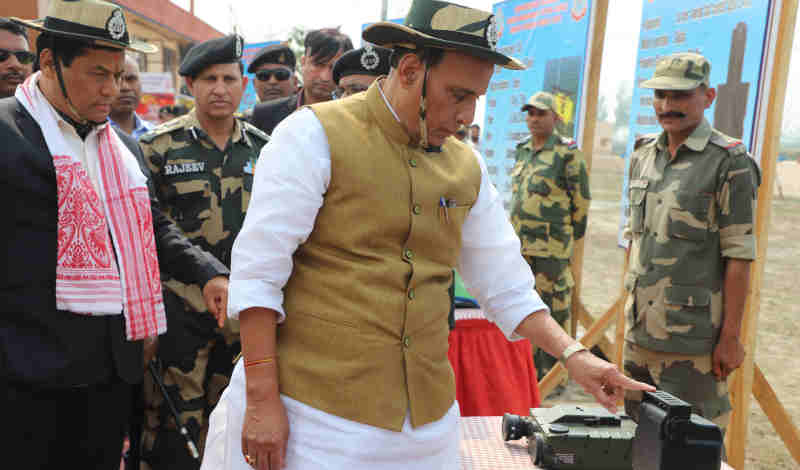 Rajnath Singh visiting the exhibits, during the inauguration of the Comprehensive Integrated Border Management System (CIBMS) project on Indo-Bangladesh border, in Dhubri district of Assam on March 05, 2019. Photo: PIB