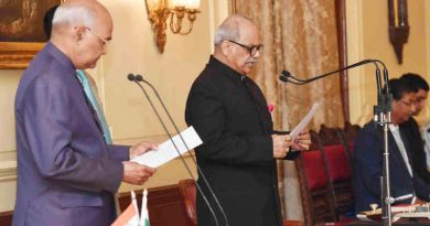 The President of India, Ram Nath Kovind, administering the oath of office of the Chairperson, Lokpal to Justice Pinaki Chandra Ghose, at a swearing-in ceremony at Rashtrapati Bhavan in New Delhi on March 23, 2019. Photo: PIB
