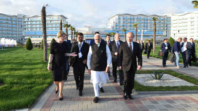 The Prime Minister, Shri Narendra Modi with the President of Russian Federation, Mr. Vladimir Putin visiting the Sirius, an incubator for gifted children, in Sochi, Russia on May 21, 2018. (file photo). Courtesy: PIB