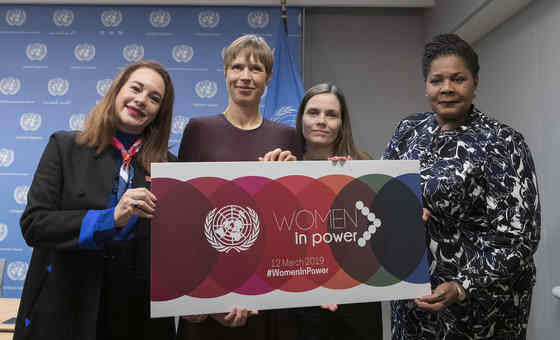 General Assembly President María Fernanda Espinosa Garcés (left) with (from left to right): President Kersti Kaljulaid of Estonia; Prime Minister Katrín Jakobsdóttir of Iceland; and President Paula-Mae Weekes of Trinidad and Tobago, following their press briefing on the high-Level event on 'Women in Power'. UNPhoto / Mark Garten