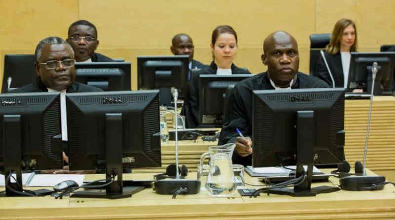 Defence team of Mathieu Ngudjolo Chui in ICC Courtroom I in The Hague. Photo: ICC-CPI