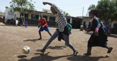 Children, including girls, play football at LEC centre of Boulaos in the city of Djibouti. Photo: UNICEF