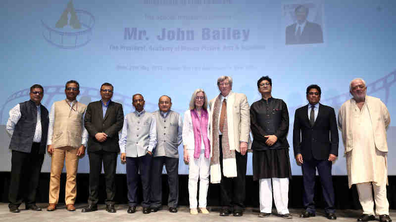 The President of Academy of Motion Pictures Arts and Sciences, Mr. John Bailey, the Secretary, Ministry of Information & Broadcasting, Shri Amit Khare and other dignitaries at a Special Interactive Session, organised by the Ministry of Information & Broadcasting, in New Delhi on May 28, 2019. Photo: PIB