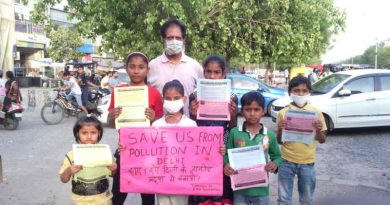 Children - who studied at the RMN Foundation free school - launched a pollution-control campaign in Delhi. Photo: RMN News Service
