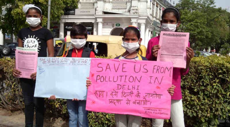 Children – who study at the RMN Foundation free school – have launched a new pollution-control campaign in Delhi. Photo: Rakesh Raman / RMN News Service