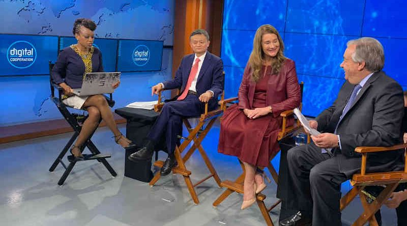 Melinda Gates, Co-Chair of The Bill & Melinda Gates Foundation (c), Jack Ma, Executive Chairman of Alibaba Group (l) and the UN Secretary-General António Guterres (r) discuss how digital cooperation and technology can contribute to achieving the Sustainable Development Goals. Photo: UN