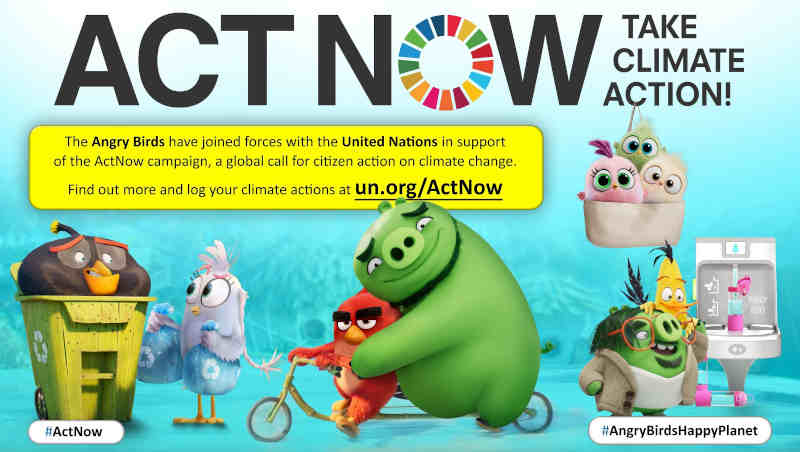 United Nations and The Angry Birds Movie 2 ActNow Campaign Art