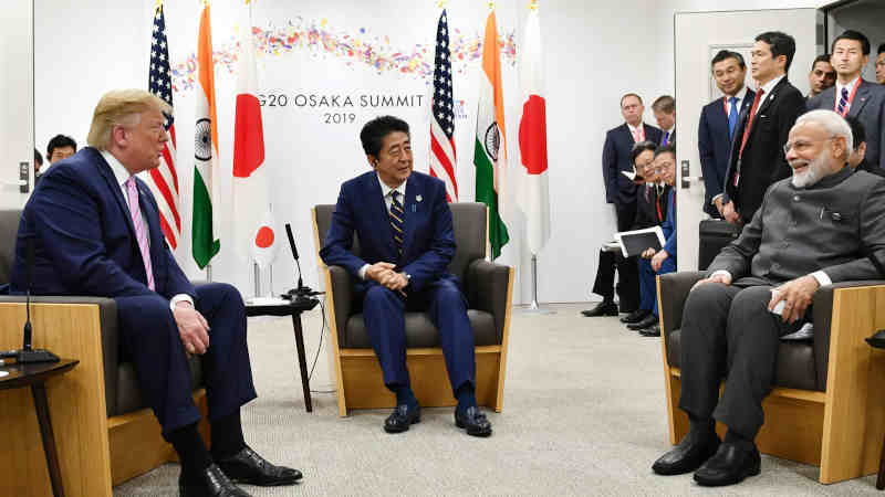 The Prime Minister of India, Narendra Modi with the Prime Minister of Japan, Mr. Shinzo Abe, and the President of United States of America (USA), Mr. Donald Trump in a Trilateral Meeting of JAI (Japan-America-India), on the sidelines of the G-20 Summit, in Osaka, Japan. Photo: PIB