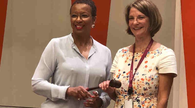 Outgoing President of UNECOSOC Ambassador Rhonda King handing the gavel to the new President of ECOSOC Ambassador Mona Juul of Norway. Photo: UNECOSOC
